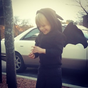 Tristan squealing in excitement in his Toothless the Dragon costume