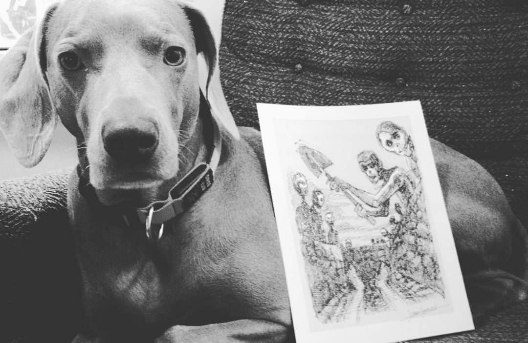 "Print from ""The Mortuary Arts"" by Author John Hancock. *Weimaraner not included."