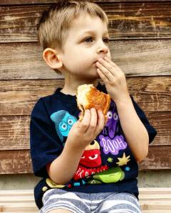 Deep in thought over the flavor of the chocolate croissant